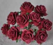 1.5cm BURGUNDY Mulberry Paper Roses